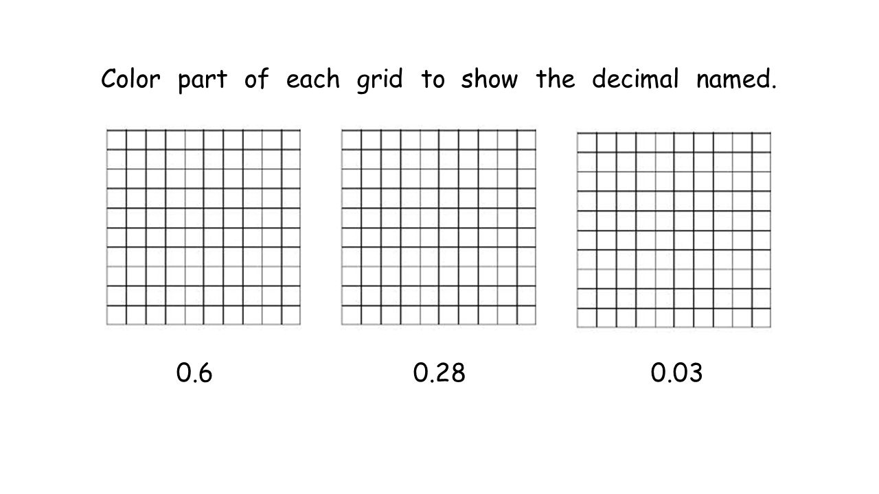 Color part of each grid to show the decimal named. 0.6 0.28 0.03