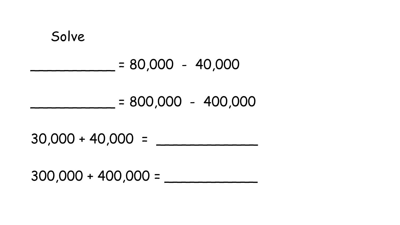 Solve 50,000 + 20,000 = ________ 500,000 + 200,000 = ________ _______ = 90,000 – 50,000 _______ = 900,000 – 500,000