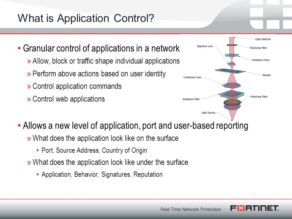 What is Application Control? Granular control of applications in a network »Allow, block or traffic shape individual applications »Perform above actio