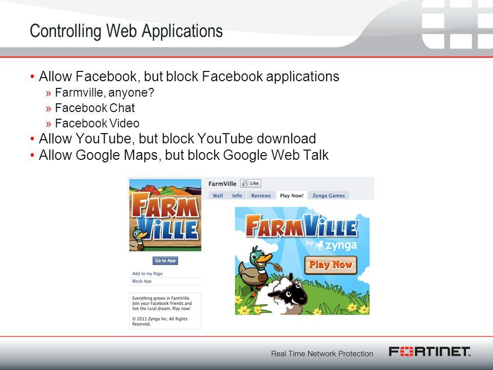 Controlling Web Applications Allow Facebook, but block Facebook applications » Farmville, anyone.