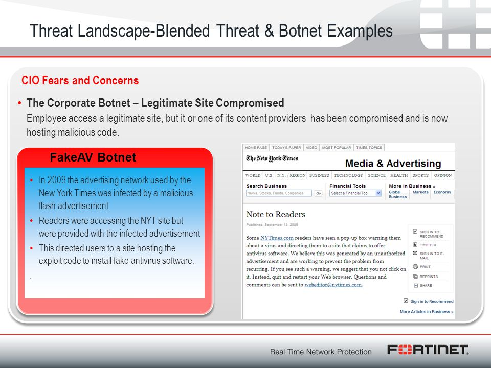 Threat Landscape-Blended Threat & Botnet Examples The Corporate Botnet – Legitimate Site Compromised Employee access a legitimate site, but it or one