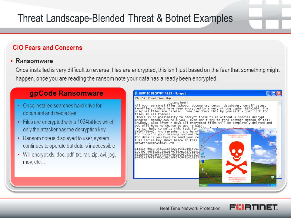 Threat Landscape-Blended Threat & Botnet Examples Ransomware Once installed is very difficult to reverse, files are encrypted, this isn't just based o
