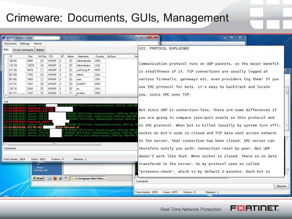 Crimeware: Documents, GUIs, Management