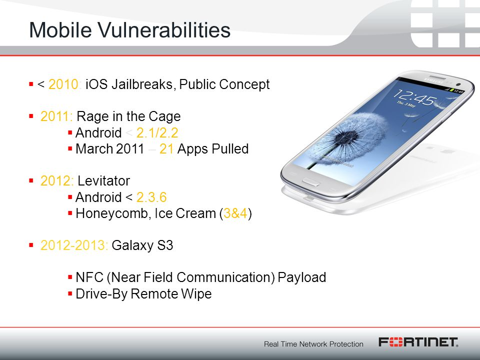 Mobile Vulnerabilities  < 2010: iOS Jailbreaks, Public Concept  2011: Rage in the Cage  Android < 2.1/2.2  March 2011 – 21 Apps Pulled  2012: Lev