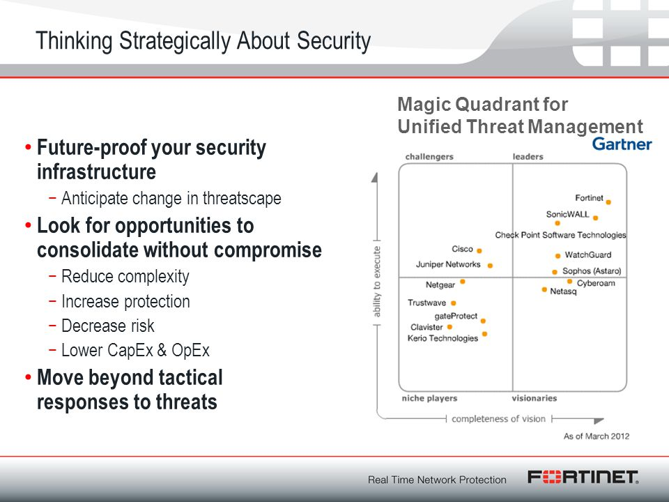 Thinking Strategically About Security Future-proof your security infrastructure −Anticipate change in threatscape Look for opportunities to consolidat