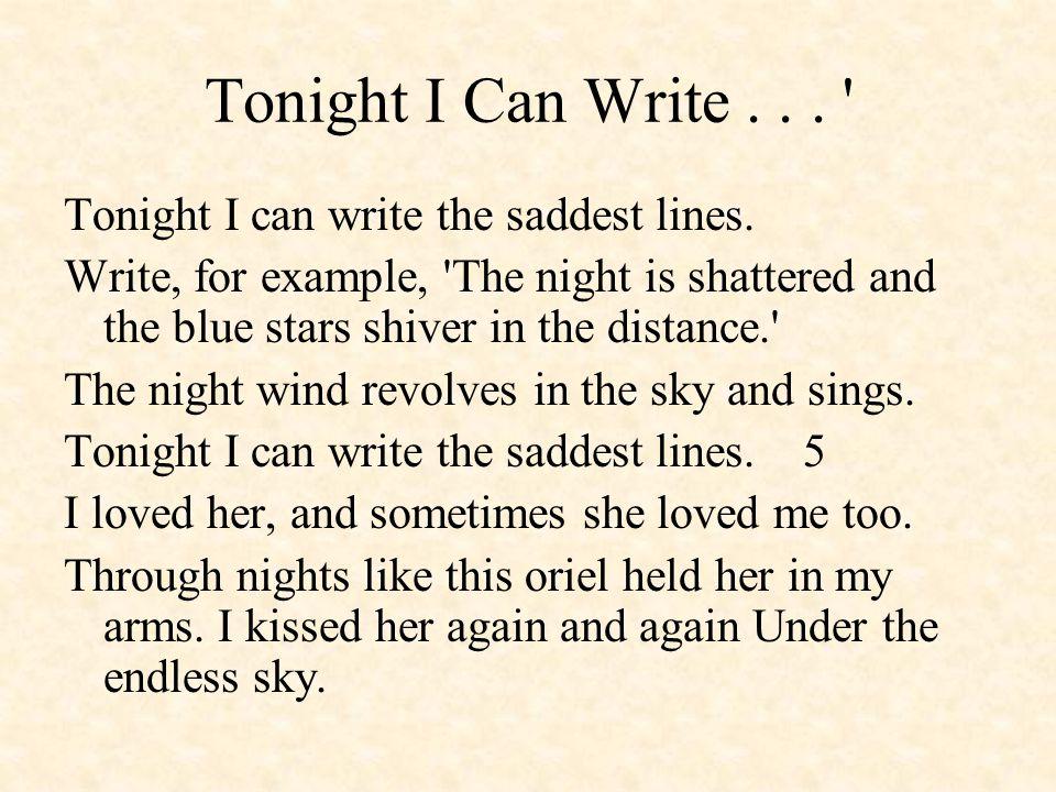 Tonight I Can Write... Tonight I can write the saddest lines.