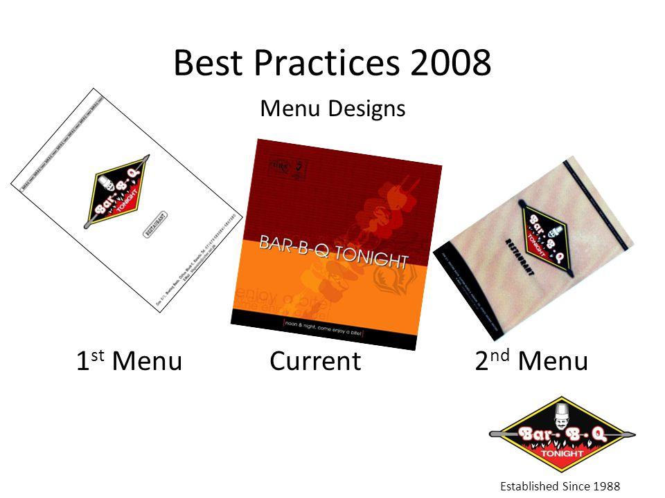 Best Practices 2008 Established Since 1988 Menu Designs 1 st Menu Current 2 nd Menu