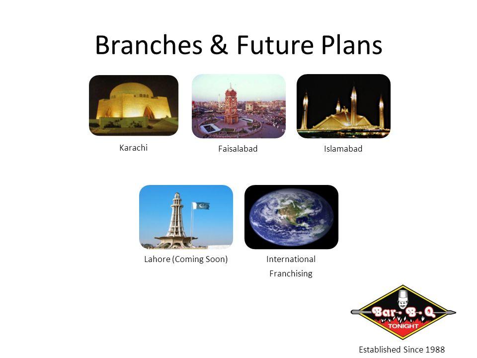 Branches & Future Plans Established Since 1988 Karachi FaisalabadIslamabad Lahore (Coming Soon)International Franchising