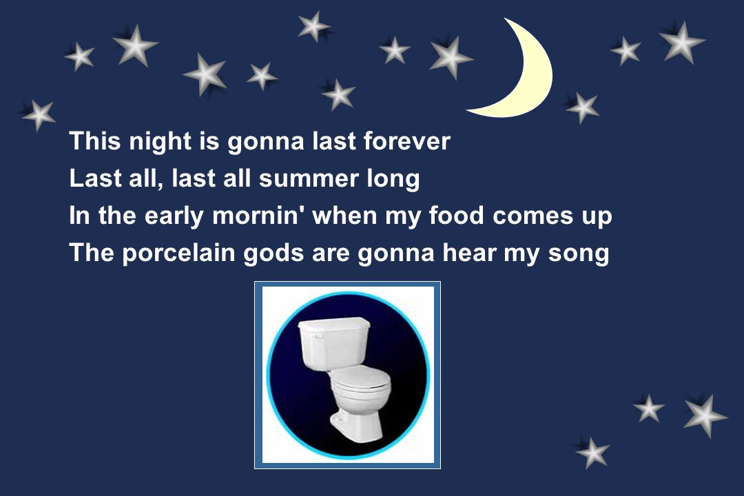 This night is gonna last forever Last all, last all summer long In the early mornin when my food comes up The porcelain gods are gonna hear my song
