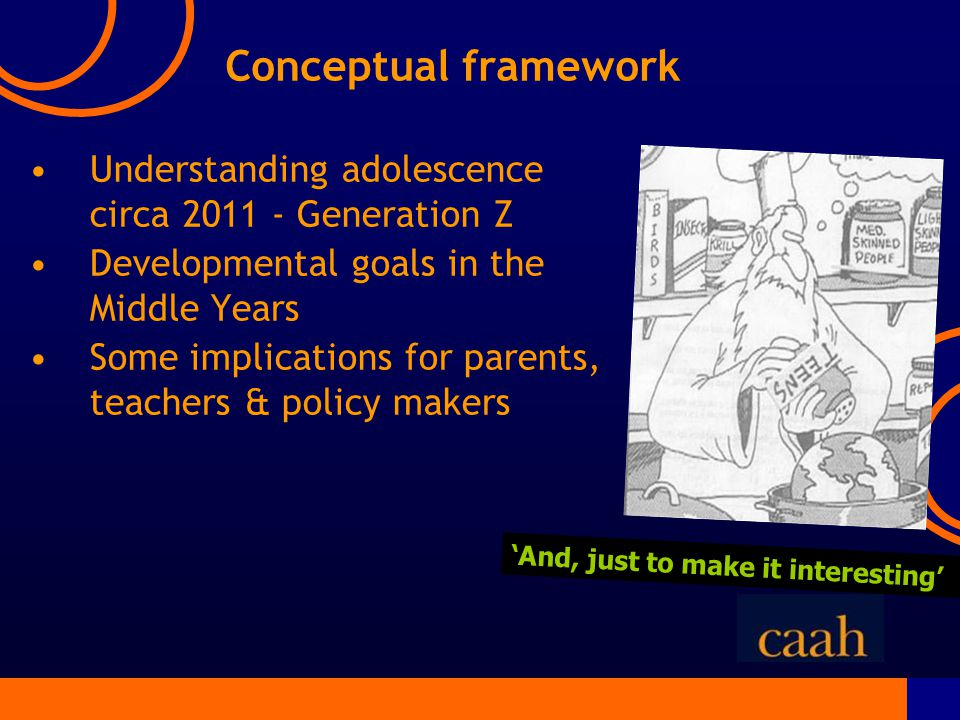Understanding adolescence circa 2011 - Generation Z Developmental goals in the Middle Years Some implications for parents, teachers & policy makers 'And, just to make it interesting' Conceptual framework
