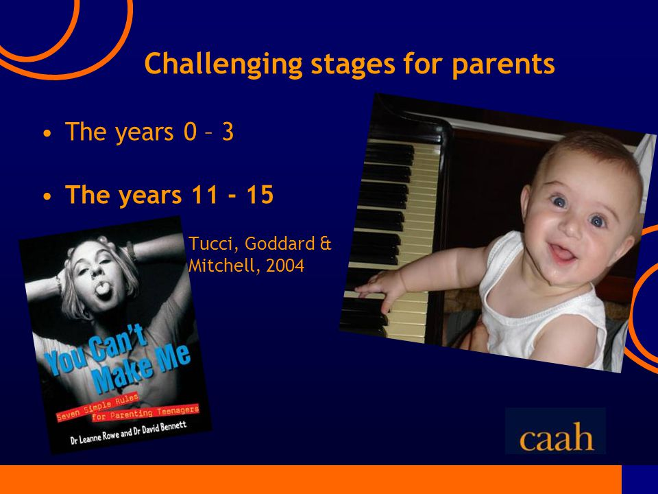 Challenging stages for parents The years 0 – 3 The years 11 - 15 Tucci, Goddard & Mitchell, 2004