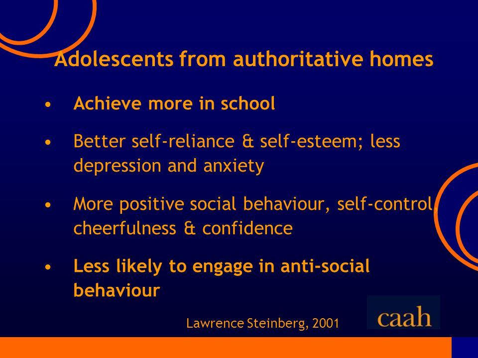 Adolescents from authoritative homes Achieve more in school Better self-reliance & self-esteem; less depression and anxiety More positive social behaviour, self-control, cheerfulness & confidence Less likely to engage in anti-social behaviour Lawrence Steinberg, 2001