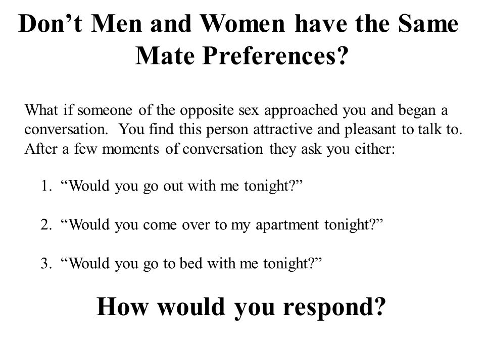 Don't Men and Women have the Same Mate Preferences.