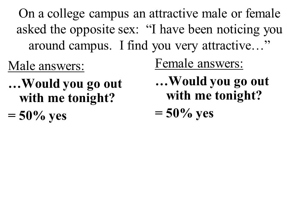 On a college campus an attractive male or female asked the opposite sex: I have been noticing you around campus.
