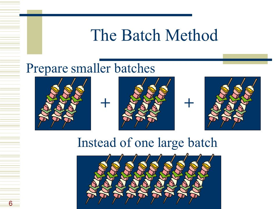 6 The Batch Method Prepare smaller batches ++ Instead of one large batch