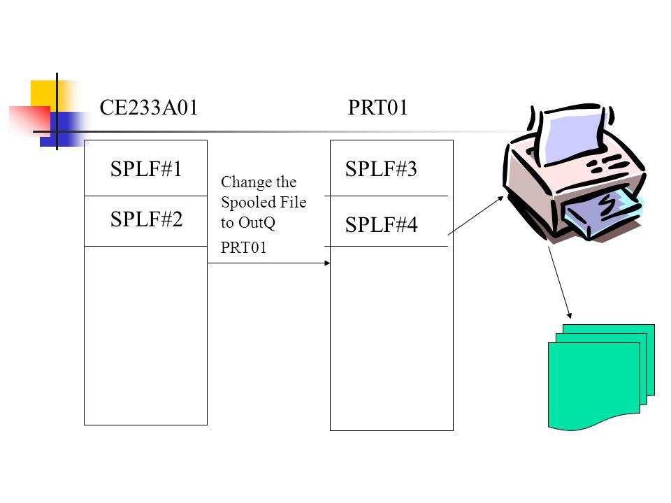 CE233A01 SPLF#1 SPLF#2 PRT01 SPLF#3 SPLF#4 Change the Spooled File to OutQ PRT01