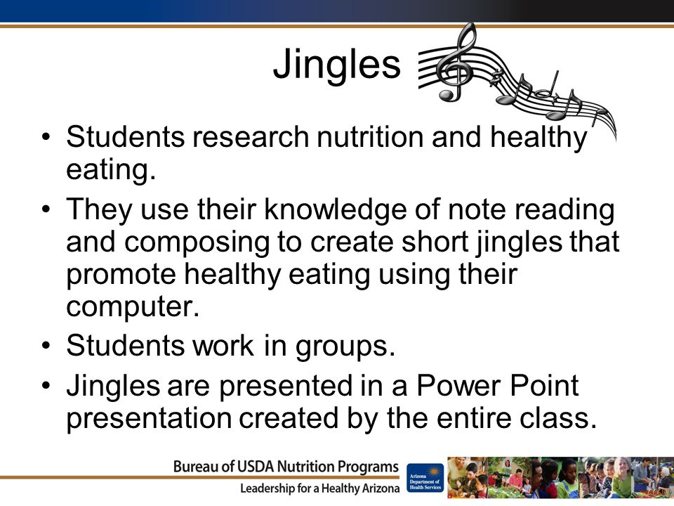 Jingles Students research nutrition and healthy eating.