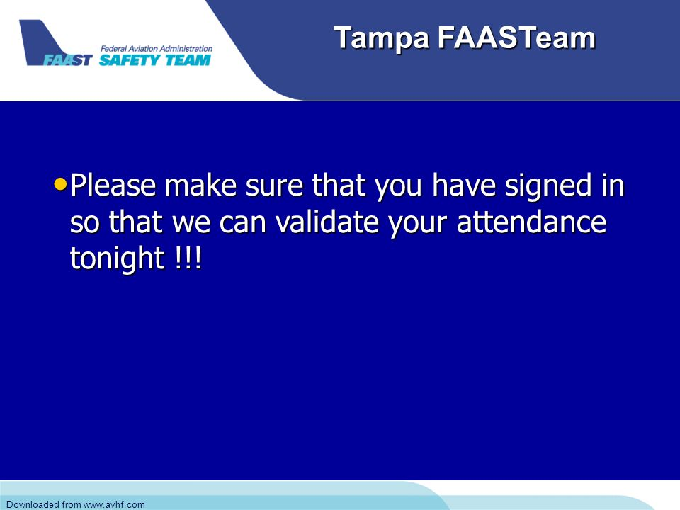 Downloaded from www.avhf.com Tampa FAASTeam