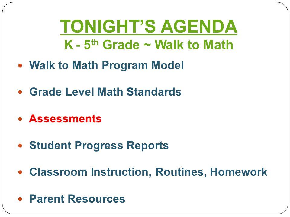 Walk to Math Program Model Grade Level Math Standards Assessments Student Progress Reports Classroom Instruction, Routines, Homework Parent Resources