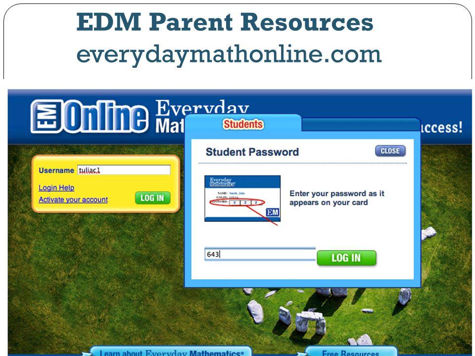 EDM Parent Resources everydaymathonline.com
