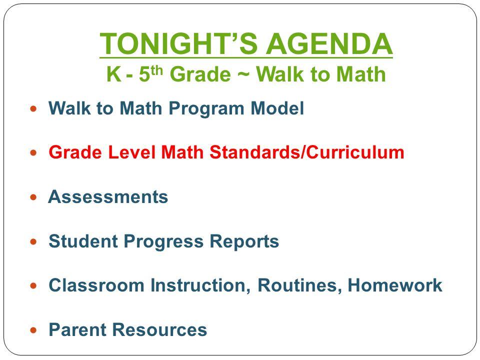 Walk to Math Program Model Grade Level Math Standards/Curriculum Assessments Student Progress Reports Classroom Instruction, Routines, Homework Parent