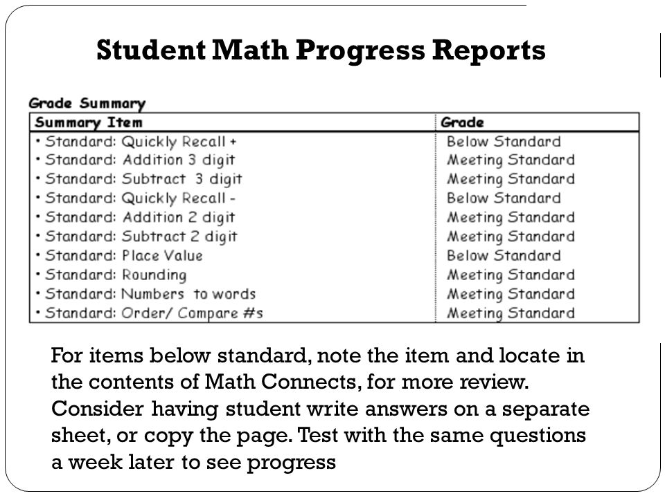 Student Math Progress Reports For items below standard, note the item and locate in the contents of Math Connects, for more review. Consider having st