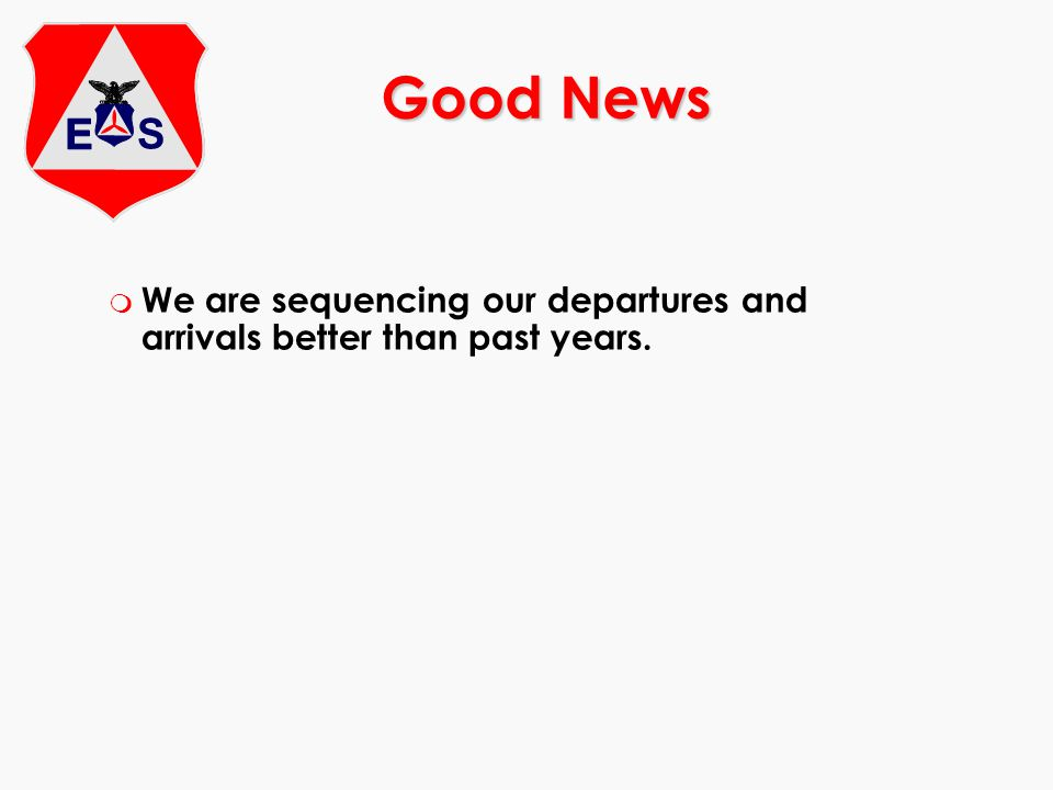 m We are sequencing our departures and arrivals better than past years. Good News