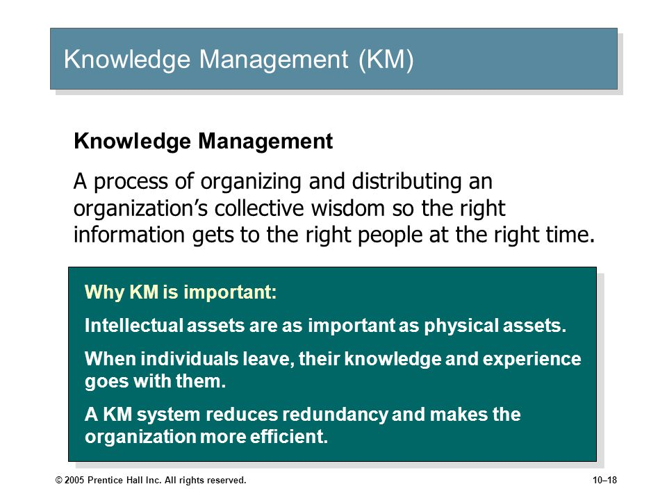 © 2005 Prentice Hall Inc. All rights reserved.10–18 Knowledge Management (KM) Why KM is important: Intellectual assets are as important as physical as