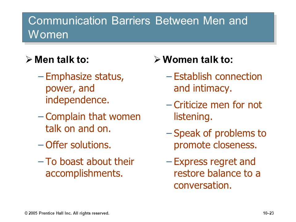 © 2005 Prentice Hall Inc. All rights reserved.10–23 Communication Barriers Between Men and Women  Men talk to: –Emphasize status, power, and independ