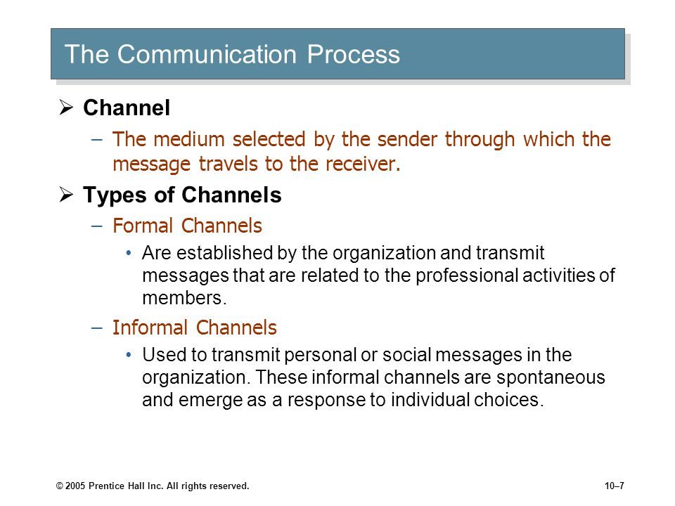 © 2005 Prentice Hall Inc. All rights reserved.10–7 The Communication Process  Channel –The medium selected by the sender through which the message tr