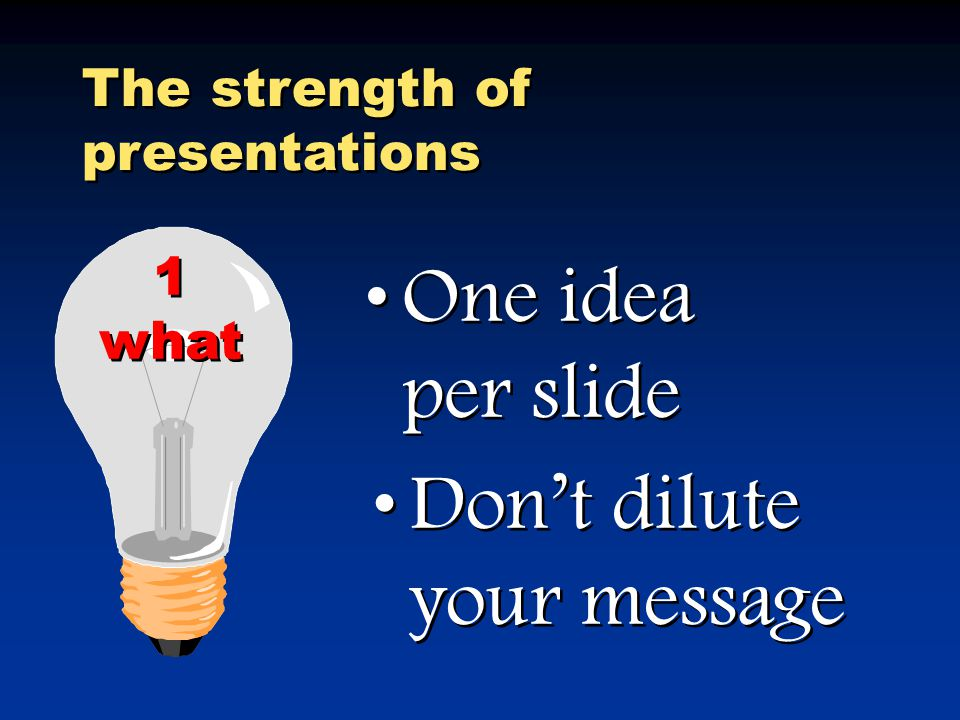 The strength of presentations Use to focus & direct attention