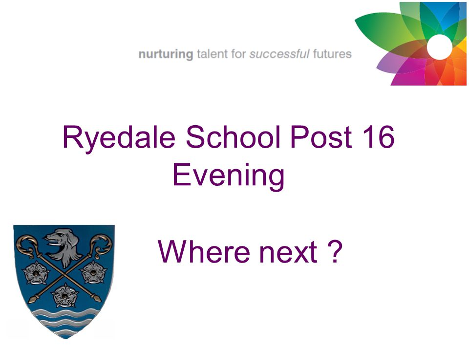 Where next ? Ryedale School Post 16 Evening