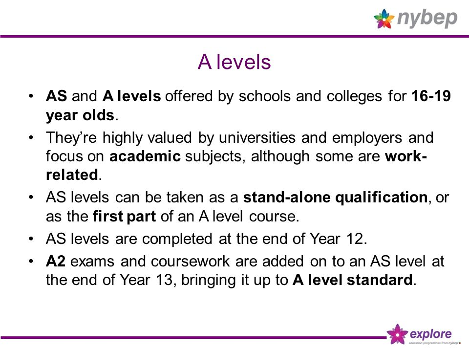 A levels AS and A levels offered by schools and colleges for 16-19 year olds. They're highly valued by universities and employers and focus on academi