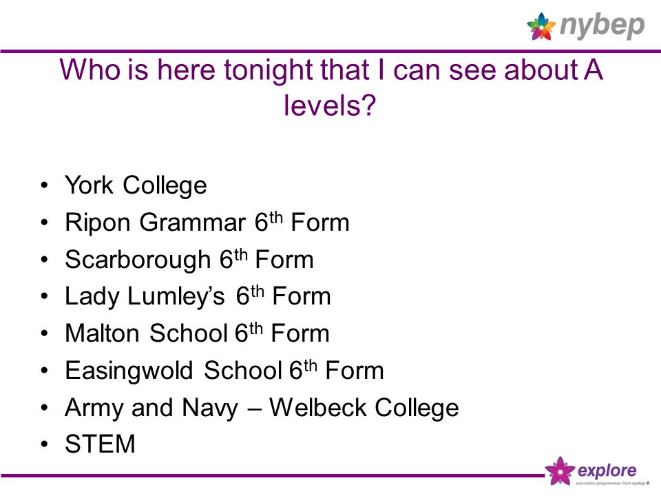Who is here tonight that I can see about A levels.