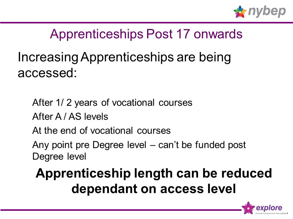 Apprenticeships Post 17 onwards Increasing Apprenticeships are being accessed: After 1/ 2 years of vocational courses After A / AS levels At the end of vocational courses Any point pre Degree level – can't be funded post Degree level Apprenticeship length can be reduced dependant on access level