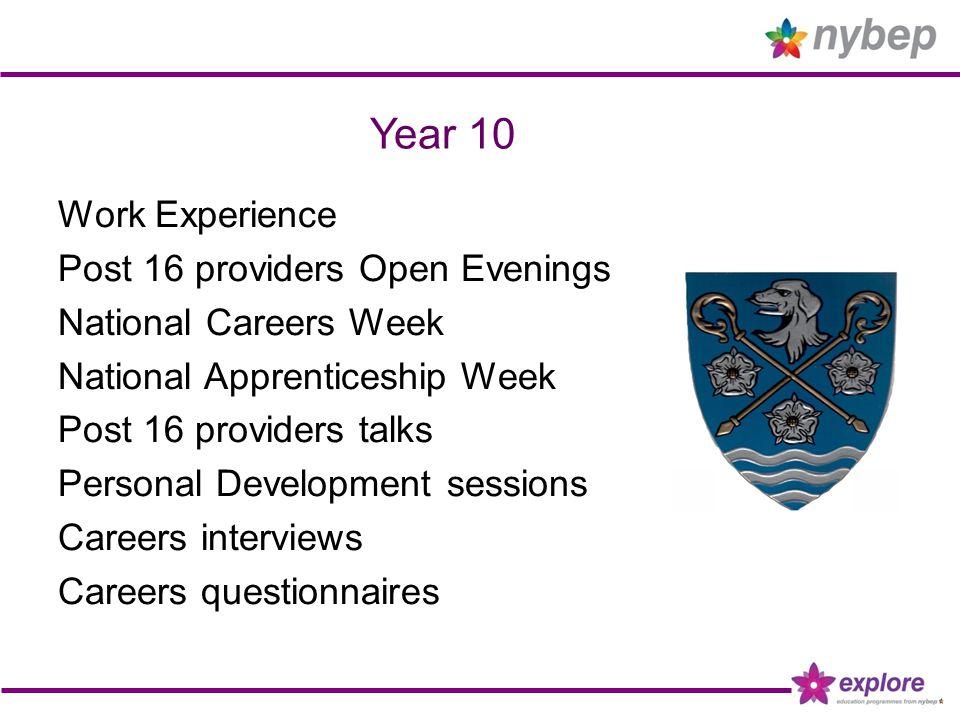 Year 10 Work Experience Post 16 providers Open Evenings National Careers Week National Apprenticeship Week Post 16 providers talks Personal Developmen