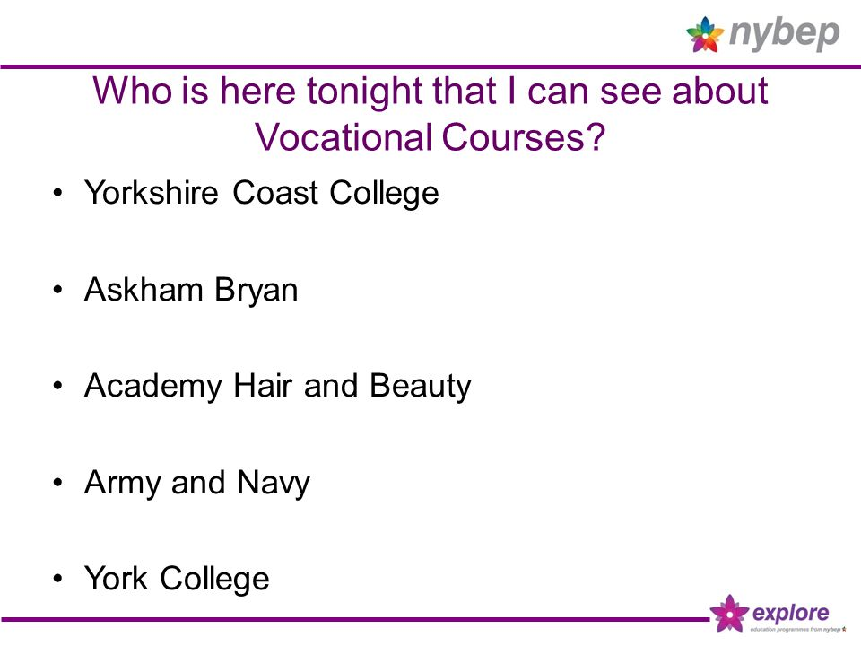 Who is here tonight that I can see about Vocational Courses? Yorkshire Coast College Askham Bryan Academy Hair and Beauty Army and Navy York College