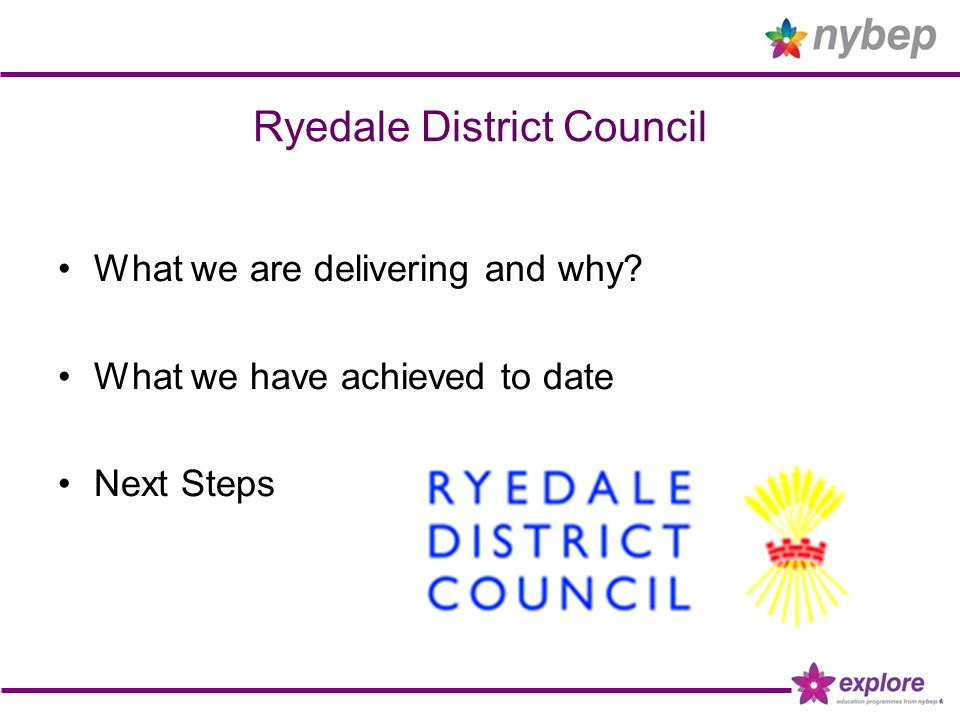 Ryedale District Council What we are delivering and why? What we have achieved to date Next Steps