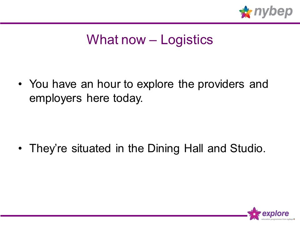What now – Logistics You have an hour to explore the providers and employers here today. They're situated in the Dining Hall and Studio.