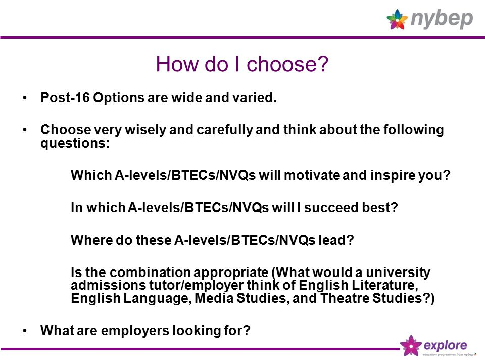 A levels AS and A levels offered by schools and colleges for 16-19 year olds.
