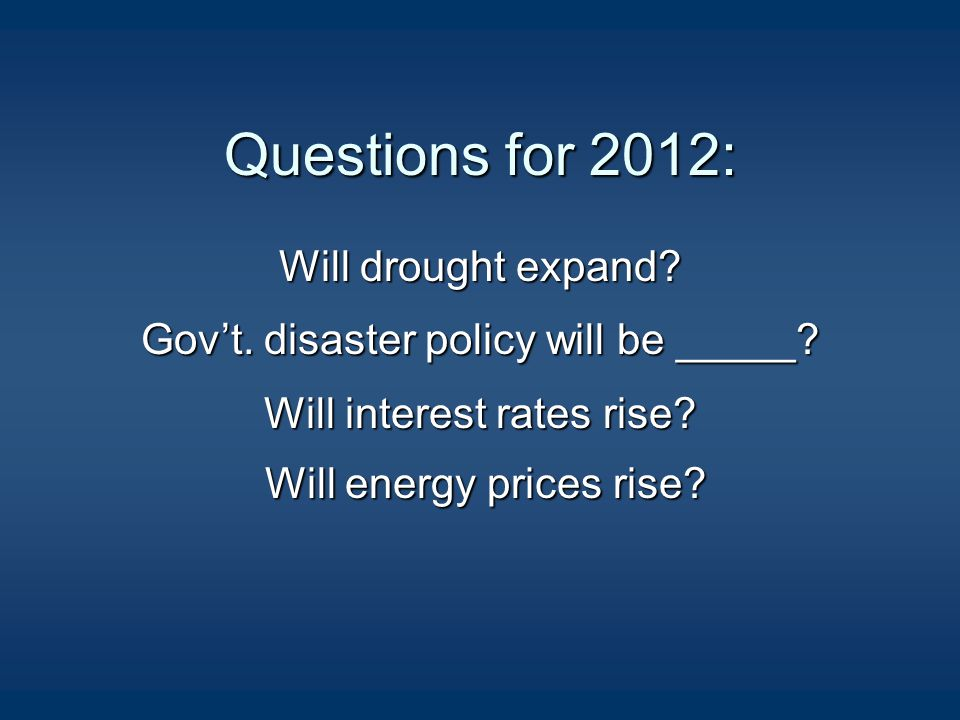 Questions for 2012: Will drought expand. Gov't. disaster policy will be _____.