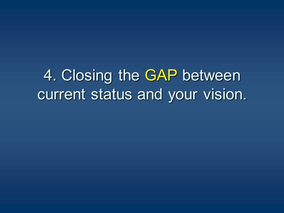 4. Closing the GAP between current status and your vision.