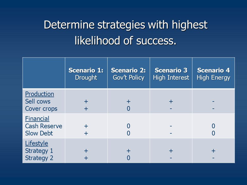 Determine strategies with highest likelihood of success.