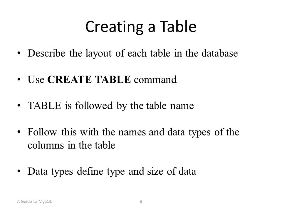 A Guide to MySQL10 Table and Column Name Restrictions Names cannot exceed 18 characters Must start with a letter Can contain letters, numbers, and underscores (_) Cannot contain spaces