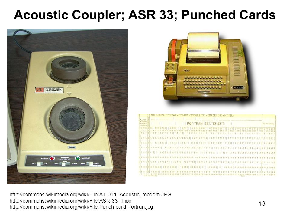 13 Acoustic Coupler; ASR 33; Punched Cards http://commons.wikimedia.org/wiki/File:AJ_311_Acoustic_modem.JPG http://commons.wikimedia.org/wiki/File:ASR-33_1.jpg http://commons.wikimedia.org/wiki/File:Punch-card--fortran.jpg