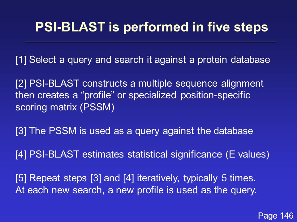PSI-BLAST is performed in five steps [1] Select a query and search it against a protein database [2] PSI-BLAST constructs a multiple sequence alignment then creates a profile or specialized position-specific scoring matrix (PSSM) [3] The PSSM is used as a query against the database [4] PSI-BLAST estimates statistical significance (E values) [5] Repeat steps [3] and [4] iteratively, typically 5 times.