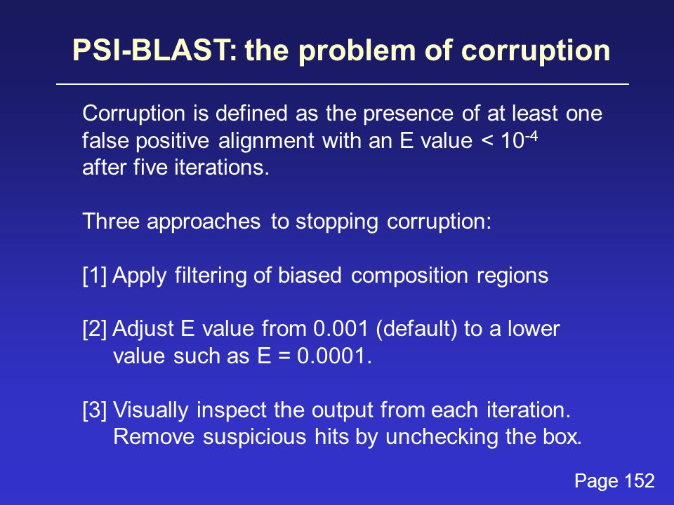 PSI-BLAST: the problem of corruption Corruption is defined as the presence of at least one false positive alignment with an E value < 10 -4 after five iterations.