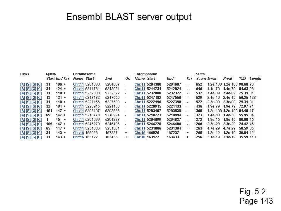 Fig. 5.2 Page 143 Ensembl BLAST server output