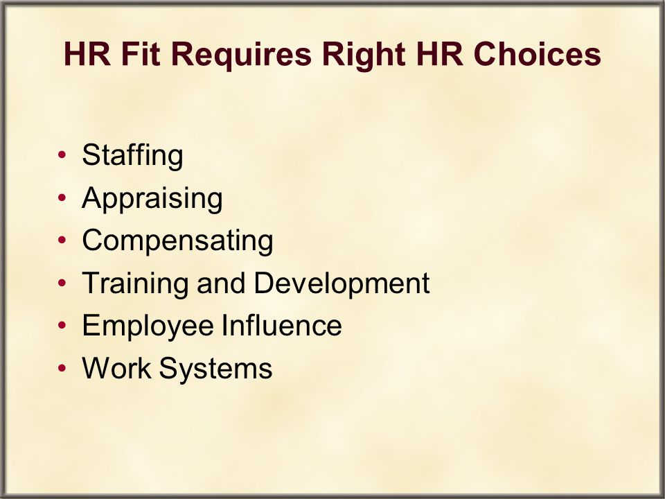 HR Fit Requires Right HR Choices Staffing Appraising Compensating Training and Development Employee Influence Work Systems