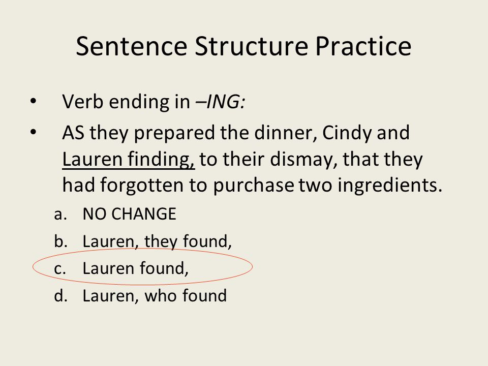 Sentence Structure Practice Verb ending in –ING: AS they prepared the dinner, Cindy and Lauren finding, to their dismay, that they had forgotten to purchase two ingredients.